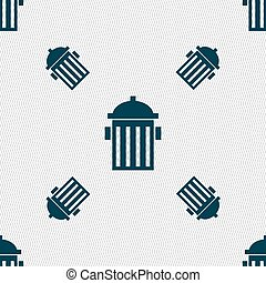fire hydrant icon sign. Seamless pattern with geometric texture. Vector