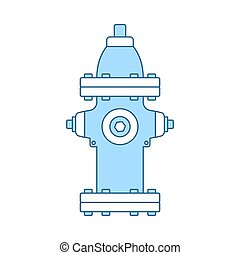 Fire Hydrant Icon. Thin Line With Blue Fill Design. Vector ...