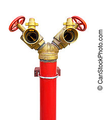 fire hydrant, red and golden. Fire hose 2 heads on white background