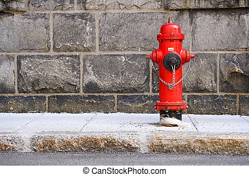 Fire Hydrant - Typical red fire hydrant. Quebec city.