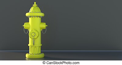 Fire hydrant yellow color on black background. 3d illustration,