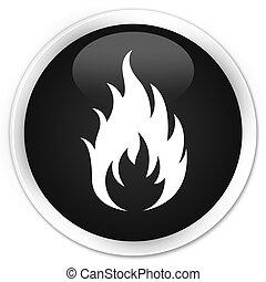 Fire icon black glossy round button