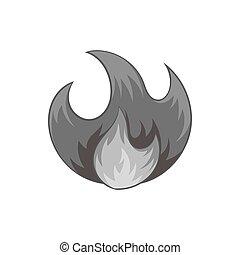 Fire icon, black monochrome style