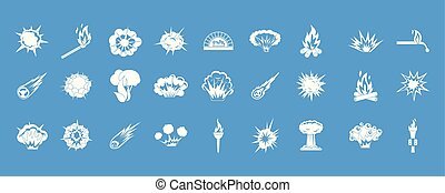 Fire icon blue set vector