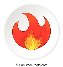 Fire icon, cartoon style