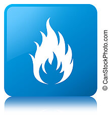 Fire icon cyan blue square button