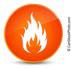 Fire icon elegant orange round button