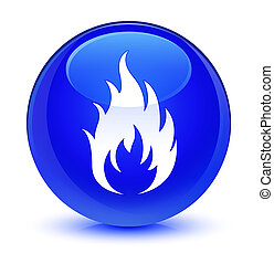 Fire icon glassy blue round button