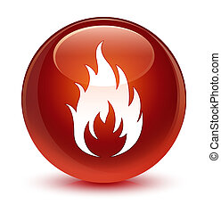 Fire icon glassy brown round button