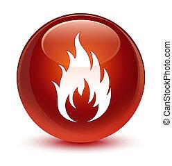 Fire icon glassy brown round button
