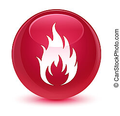 Fire icon glassy pink round button