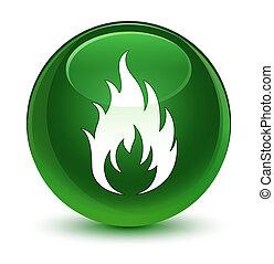 Fire icon glassy soft green round button
