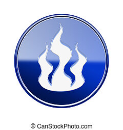 Fire icon glossy blue, isolated on white background