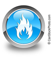 Fire icon glossy cyan blue round button