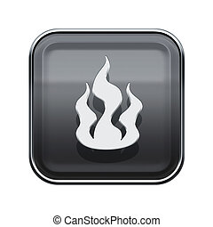 Fire icon glossy grey, isolated on white background