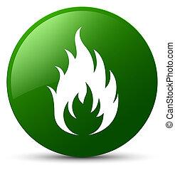 Fire icon green round button