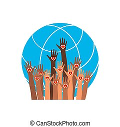 Fire icon. Hands with earth, people of the world holding the globe