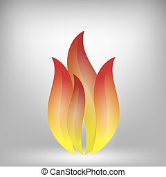 Fire Icon Isolated on Grey Background