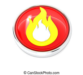 Fire icon on glossy red round button