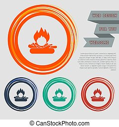 Fire Icon on the red, blue, green, orange buttons for your website and design with space text. Vector
