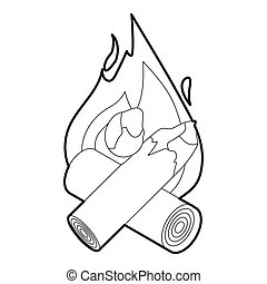 Fire icon, outline style