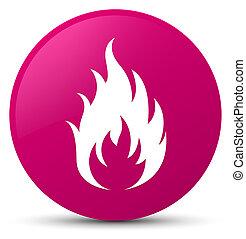 Fire icon pink round button