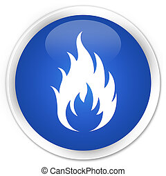 Fire icon premium blue round button