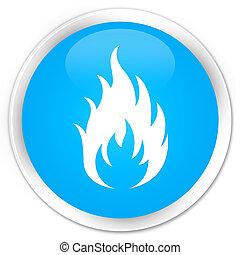 Fire icon premium cyan blue round button