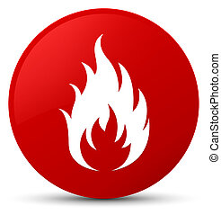 Fire icon red round button