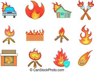 Fire icon set, cartoon style