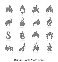 Fire icon set - Fire flame burn flare torch shadow icons set...