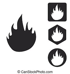 Fire icon set, monochrome