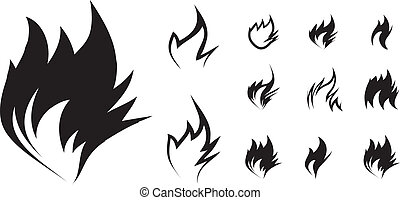 Fire icon set on white background