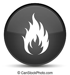 Fire icon special black round button