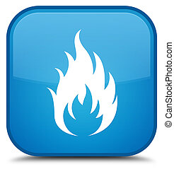 Fire icon special cyan blue square button
