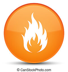 Fire icon special orange round button