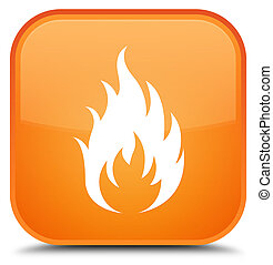 Fire icon special orange square button
