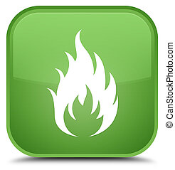 Fire icon special soft green square button
