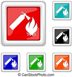 Fire icon - Square shiny icons - six colors vector set -...