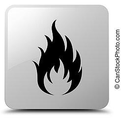 Fire icon white square button