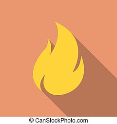 Fire icon with long shadow in a flat design