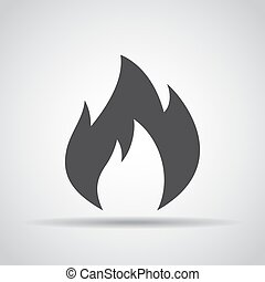 Fire icon with shadow on a gray background. Vector illustration