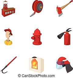 Fire icons set, cartoon style