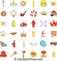Fire icons set, cartoon style