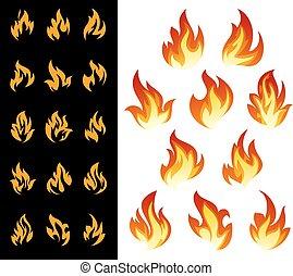 Fire icons set