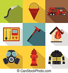 Fire icons set, flat style