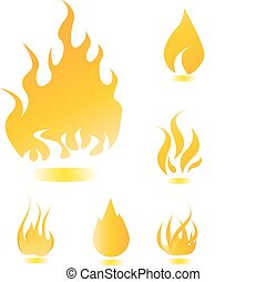 Fire icons set - Yellow glossy fire icons for your design