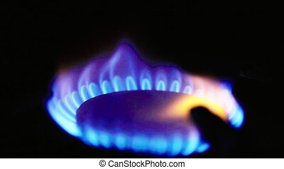 Fire in a gas stoker on a gas stove