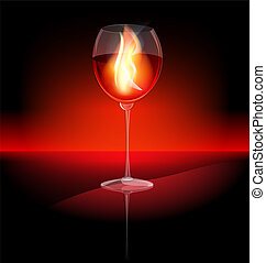 fire in a glass of red wine
