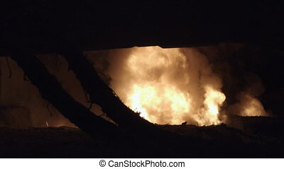 Fire in a metallurgical furnace with a steel casting shop....